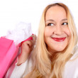 Blonde lady shopper — Stock Photo #4840802