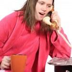Girl talking on old phone — Stock Photo