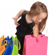 Cute blonde girl shopper — Stock Photo