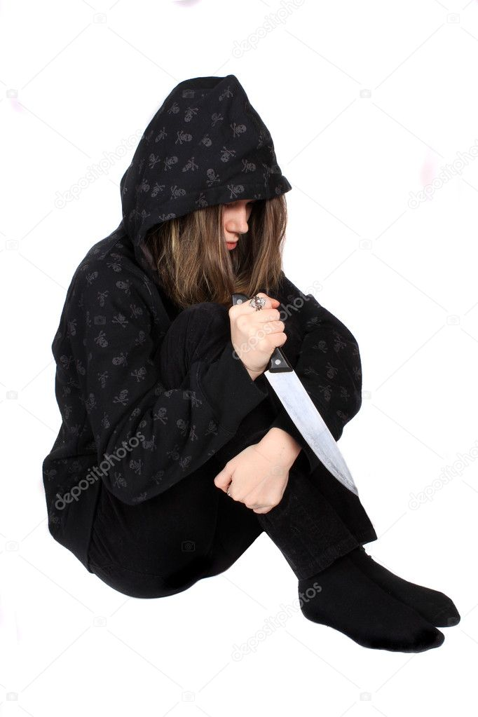 depositphotos 5061122 Troubled emo teen with knife Troubled emo teenager with hooded sweater holding a large knife isolated on ...