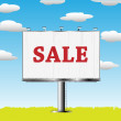 Outdoor billboard with sale sign - Foto de Stock