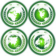 Globe stamps with wreath — Stock Photo