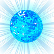 Blue Disco ball background - Stock Photo