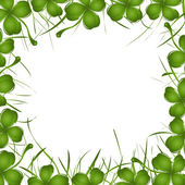 Four leaves clover and grass frame — Stock Photo