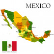 Stock Photo: Mercator map of Mexico and flag
