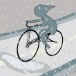 Biker in the rain - Foto Stock