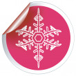 Red snowflake label — Stock Photo