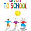 School kids and sun illustration — Stock Photo #4222730