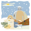 Village in winter — Stock Photo