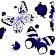 Blue ink butterflies — Stock Photo #4589633