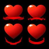 Cuori lucido rosso — Foto Stock