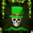 Stock Photo: St.Patrick skull and clovers