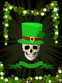 St.Patrick skull and clovers — Stock Photo