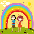 Rainbow and kids - Stockfoto