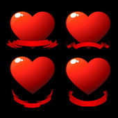Red shiny hearts — Vettoriale Stock