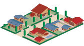 Residential district cartoon — Stock Photo