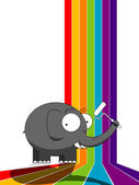 Elephant painting a rainbow — Stock Vector