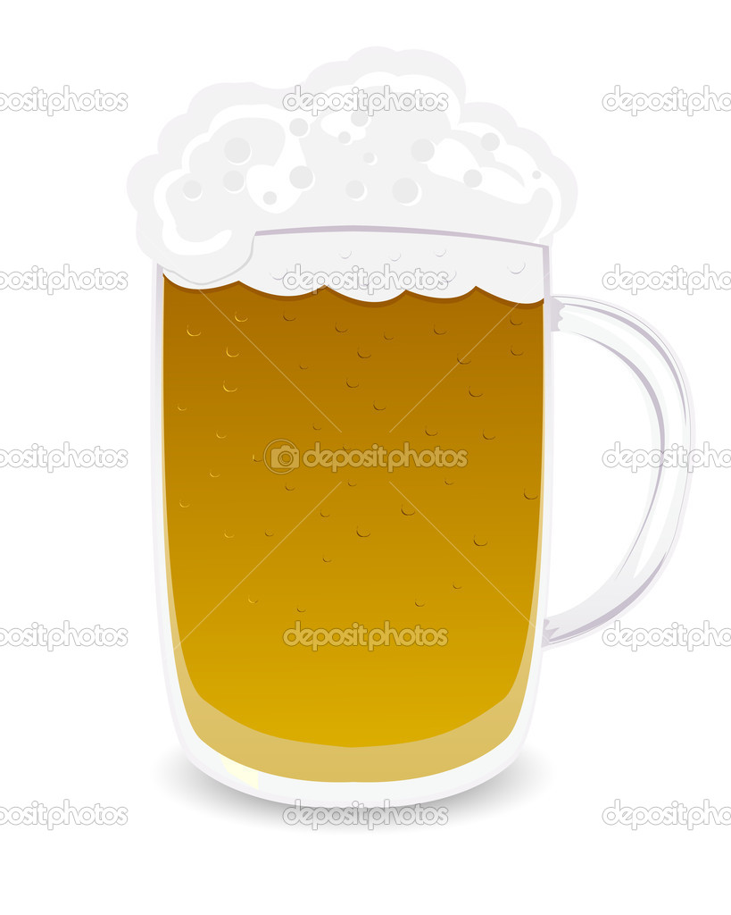 Beer mug, isolated object over white background — Stock Vector #5007219