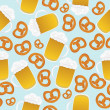 Beer mugs and pretzels - Stock Photo