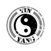 Yin and yang stamp — Stock Vector