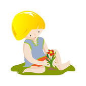 Boy with flower — Stock Vector