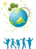 çocuklar ve gezegen — Stok Vektör
