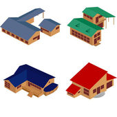House isometric icons — Stock Vector