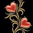 Two hearts with floral ornament — Stock Photo #4943272