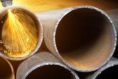 Pipe, process, cutting — Stock Photo