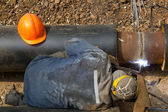 Process welding pipeline — Stock Photo