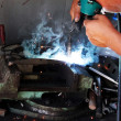 Worker   welder  handicraft  process — Foto de Stock
