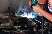 Worker welder handicraft process — Stock Photo