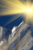 Céu de sol bloco de gelo — Fotografia Stock
