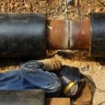 Worker welder pipe pipeline — Stock Photo