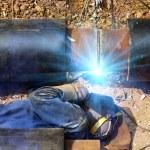 Worker welder pipe — Stock Photo