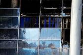 Glass broken window house — Stock Photo