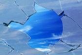 Hole sky glass broken — Stock Photo