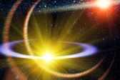 Comet flying orbit sun — Stock Photo