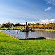 Regular Upper Park of Peterhof , S.Petersburg — Stock Photo