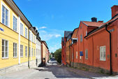 Cozy sunny street of Uppsala. Sweden — Stock Photo