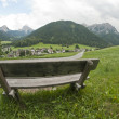 Bench on the Dolomites Mountains, Italy — Стоковая фотография