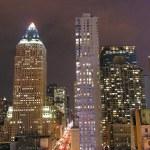 new York'ta gece görünümü — Stok fotoğraf