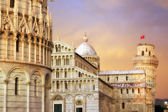 Sunset in Piazza dei Miracoli, Pisa — Stock Photo