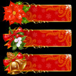 Christmas and New Year banners — Image vectorielle