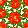 Christmas flowers seamless background — Stock Vector