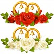 Wedding rings and bunch of roses - Stock Vector