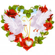 Rose garland in the shape of heart and couple dove — Stok Vektör