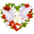 Rose garland in the shape of heart and couple dove — Imagens vectoriais em stock