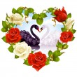 Red Roses and couple Swans — Imagen vectorial