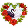 Red Roses and couple Swans — Vector de stock